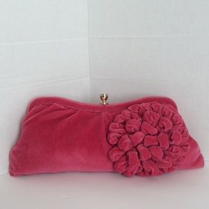 Pink velvet Banana republic clutch
